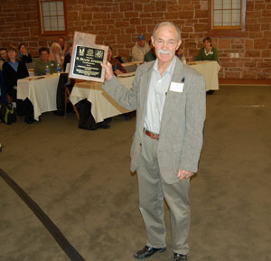 Duane Atwood receives award on 3/4/08, picture by Tony Frates